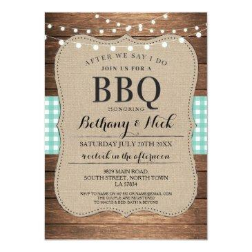 Small After We Say I Do Bbq Rustic Mint Lights Invite Front View