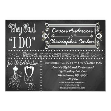 Small After Wedding Trendy Chalkboard Invitation Front View
