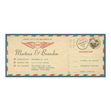 airmail boarding pass ticket wedding