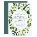 alabaster floral frame wedding invitations