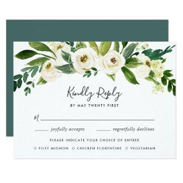 alabaster floral rsvp  with meal choice