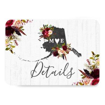 alaska state destination rustic wedding details invitations