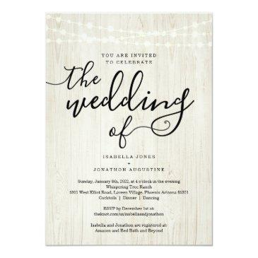 Small All In One Wedding Invitation With Rsvp & Registry Front View