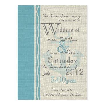 anchor rustic nautical wedding invitation