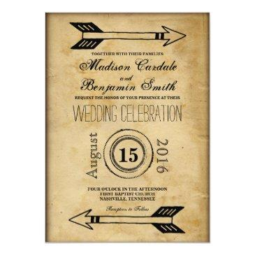 Small Antique Tribal Arrow Vintage Wedding Invitations Front View
