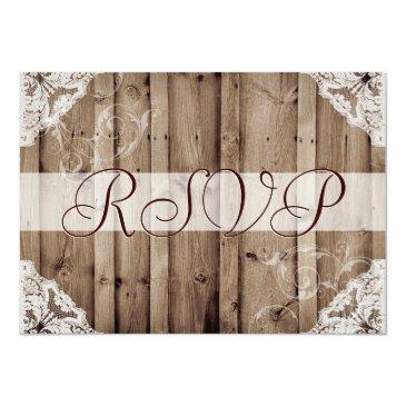 Small Antique White Lace Wedding Rsvp Front View