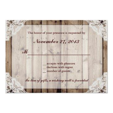 Small Antique White Lace Wedding Rsvp Back View