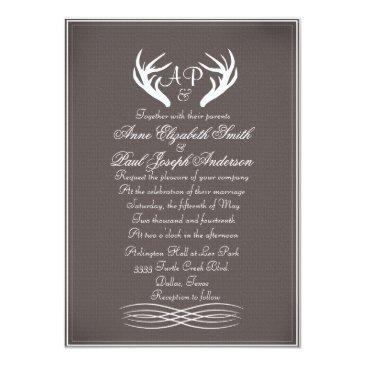 antlers elegant rustic wedding  gray