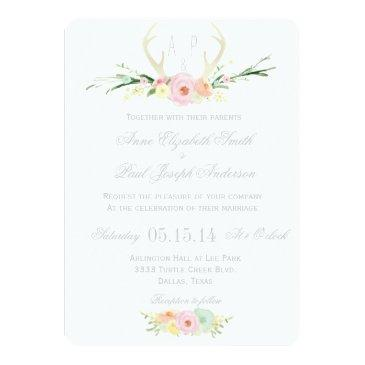 Small Antlers Floral Wedding Invitation Front View