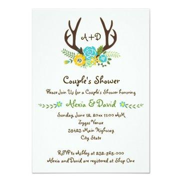 Small Antlers & Flowers Monogram Wedding Couples Shower Invitation Front View