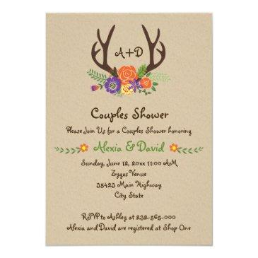 Small Antlers & Flowers Monogram Wedding Couples Shower Front View