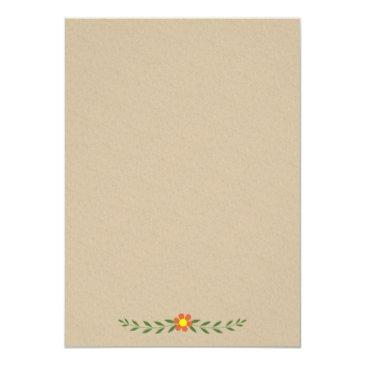 Small Antlers & Flowers Monogram Wedding Couples Shower Invitation Back View