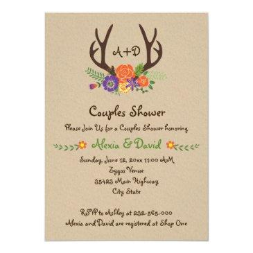 antlers & flowers monogram wedding couples shower