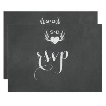 antlers & heart tying the knot wedding rsvp