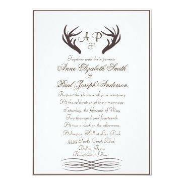 antlers rustic elegant wedding  white
