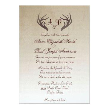 Small Antlers Rustic Wedding Invitation Brown Ombre Front View