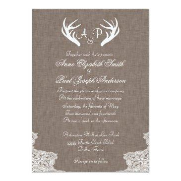 Small Antlers Rustic Wedding Invitations Fabric And Lace Front View