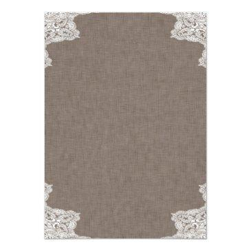 Small Antlers Rustic Wedding Invitations Fabric And Lace Back View