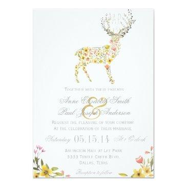 Small Antlers Yellow Floral Wedding Front View