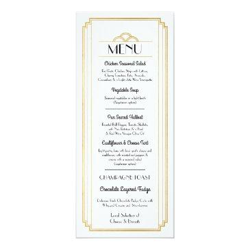 art deco menu gold white wedding reception