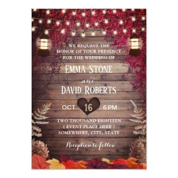 Small Autumn Burgundy Leaves Rustic Lantern Fall Wedding Invitation Front View