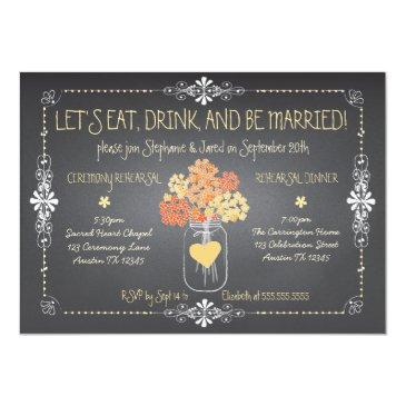 autumn chalkboard wedding rehearsal mason jar