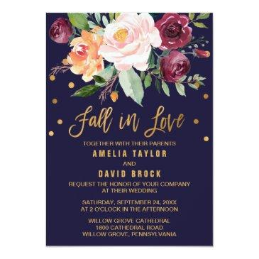 Small Autumn Floral | Fall In Love Wedding Invitationss Front View