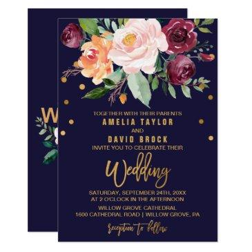 autumn floral with typography backing wedding