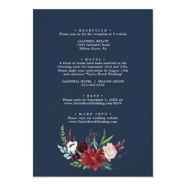 Small Autumn Garden   Burgundy All In One Wedding Invitation Back View