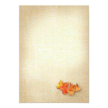 Small Autumn Leaves Burlap Twinkle Lights Fall Wedding Invitationss Back View
