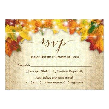 Small Autumn Leaves String Lights Burlap Wedding Rsvp Invitationss Front View