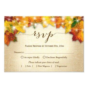 autumn leaves string lights burlap wedding rsvp