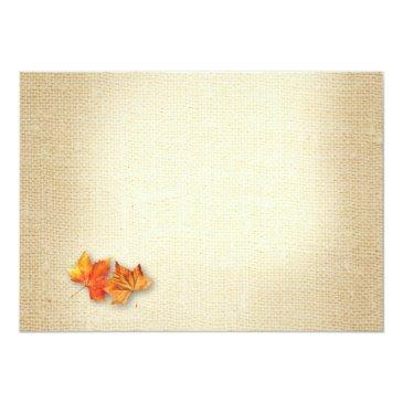 Small Autumn Leaves String Lights Burlap Wedding Rsvp Invitationss Back View
