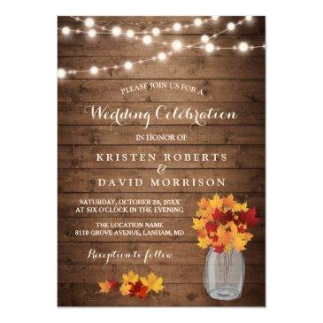 autumn leaves string lights rustic fall wedding