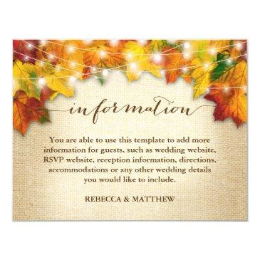 autumn leaves twinkle lights burlap wedding info