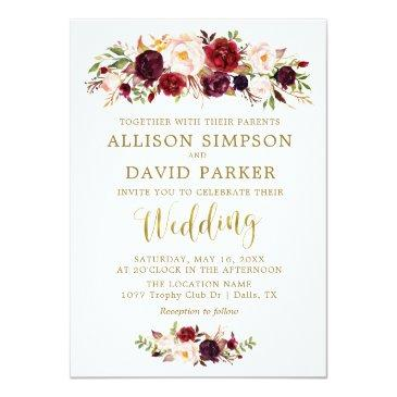 Small Autumn Marsala Floral Gold Elegant Wedding Invitationss Front View