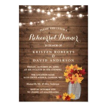 autumn rehearsal dinner rustic wood string lights invitation