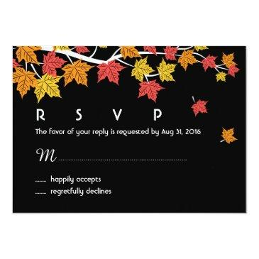 Small Autumn Wedding Rsvp Invitationss With Maple Leaves Falling Front View