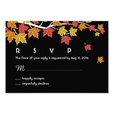 autumn wedding rsvp  with maple leaves falling