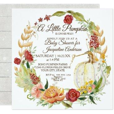 baby shower fall floral burgundy white pumpkin invitations