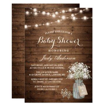 baby shower rustic baby's breath floral mason jar