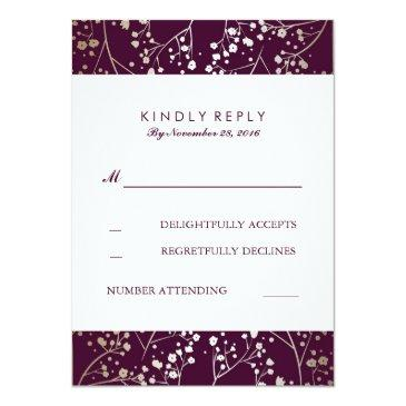 Small Baby's Breath Gold And Plum Wedding Rsvp Front View