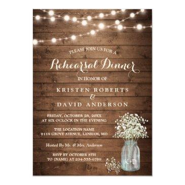 baby's breath jar string lights rehearsal dinner invitation