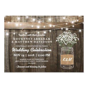 baby's breath mason jar country rustic wedding invitation