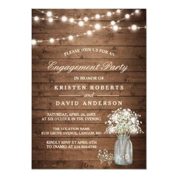 Small Baby's Breath Mason Jar Rustic Engagement Party Invitation Front View