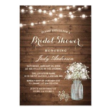 Small Baby's Breath Mason Jar Rustic Wood Bridal Shower Invitationss Front View
