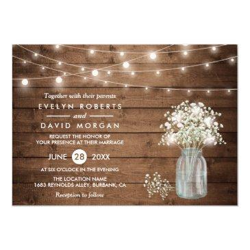 baby's breath mason jar string lights wedding