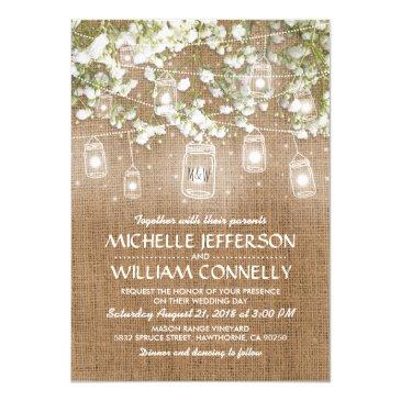baby's breath rustic burlap wedding invitation