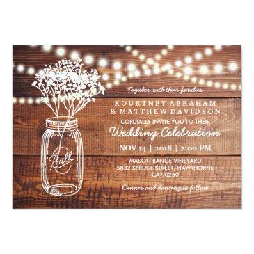 Small Baby's Breath Rustic Country | Mason Jar Wedding Front View