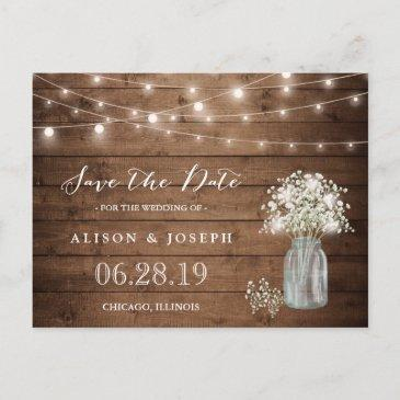 baby's breath rustic string lights save the date announcement post